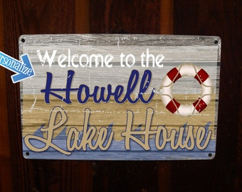 Lake House Sign - Custom, Vintage, Personalize Tin Sign