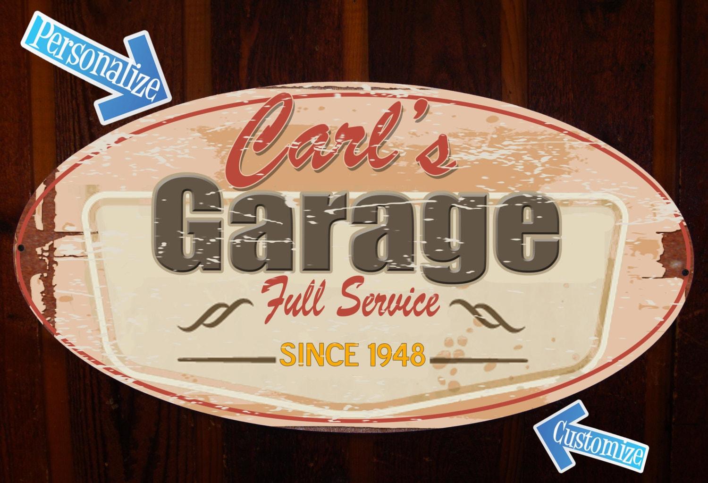 Garage Signs For Men : Custom vintage tin sign for garage shop or man cave
