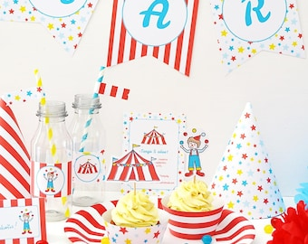 DIY Printable Circus party decoration - Instant download