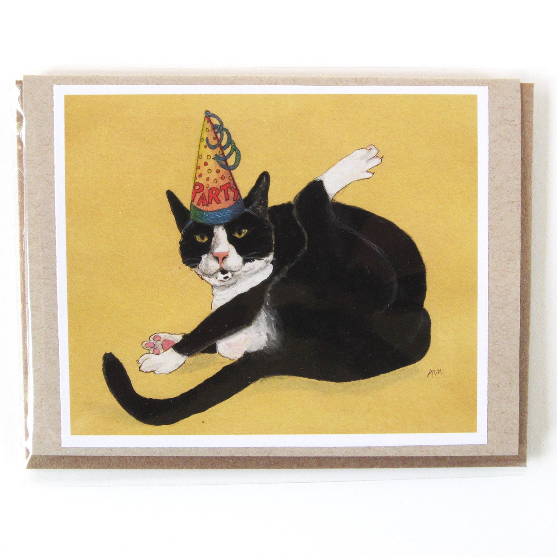 Greeting Card Tuxedo Cat Party Animal Birthday Or Blank