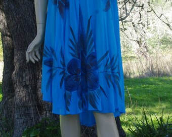 Bohemian Dress / Embroidered Dress / Indian Clothing / Hand Painted Floral Dress