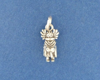 CROW MOTHER Charm .925 Sterling Silver Native American Indian Kachina Small Miniature - lp1816