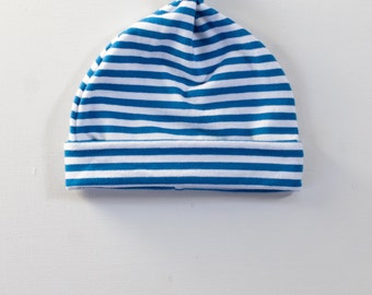 organic knottie baby hat | royal blue stripe