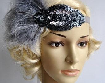 Silver gray beaded flapper Gatsby Headband,Wedding Headband, Beaded feathers headband, Crystal Wedding Headpiece, 1920s Flapper headband
