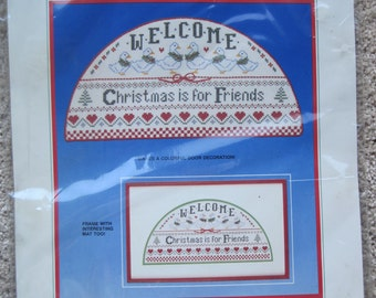 "Cross Stitch Kit - Christmas Welcome - Dimensions #8333 - 14"" x 7"" - NEW NIP - Vintage 1986"