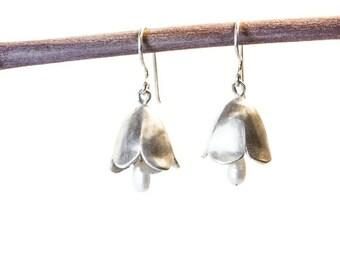 Sterling Silver Bell Flower Earrings , Silver And White Pearl Dangle Earrings , Nature Earrings , Floral Dangle Earrings