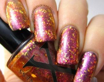 Utopia - Glass Flakie Polish - Multichrome Flakies - Shifting Glass Fleck Nail Polish - Gold Glitter and Pink to Gold Shifting Flakes