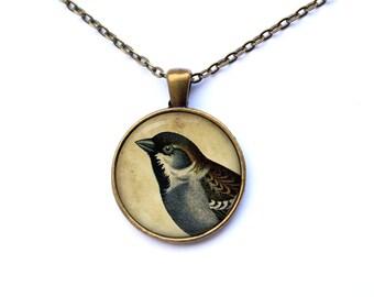 Sparrow necklace Bird jewelry Animal pendant Art charm CWAO1-1