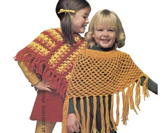 Crochet Pattern Girls Poncho Two Styles Granny Poncho Pattern Mesh Beach Cover Up Digital Download PDF Vintage Pattern Size 4 to 14 - C102