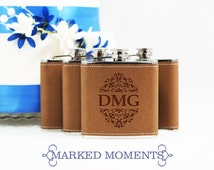 Engraved Leather Flask with Three Letter Monogram Great for Groomsmen 21st Birthday Bridesmaids Father's Day GARDEN BOLD Design