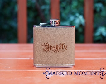 ABSINTHE Flask - Leather Flask with Absinthe engraved on it - Goth gift underground romantic wormwood chasing the green fairy