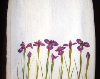 Flour Sack Kitchen Towel, Iris Flowers