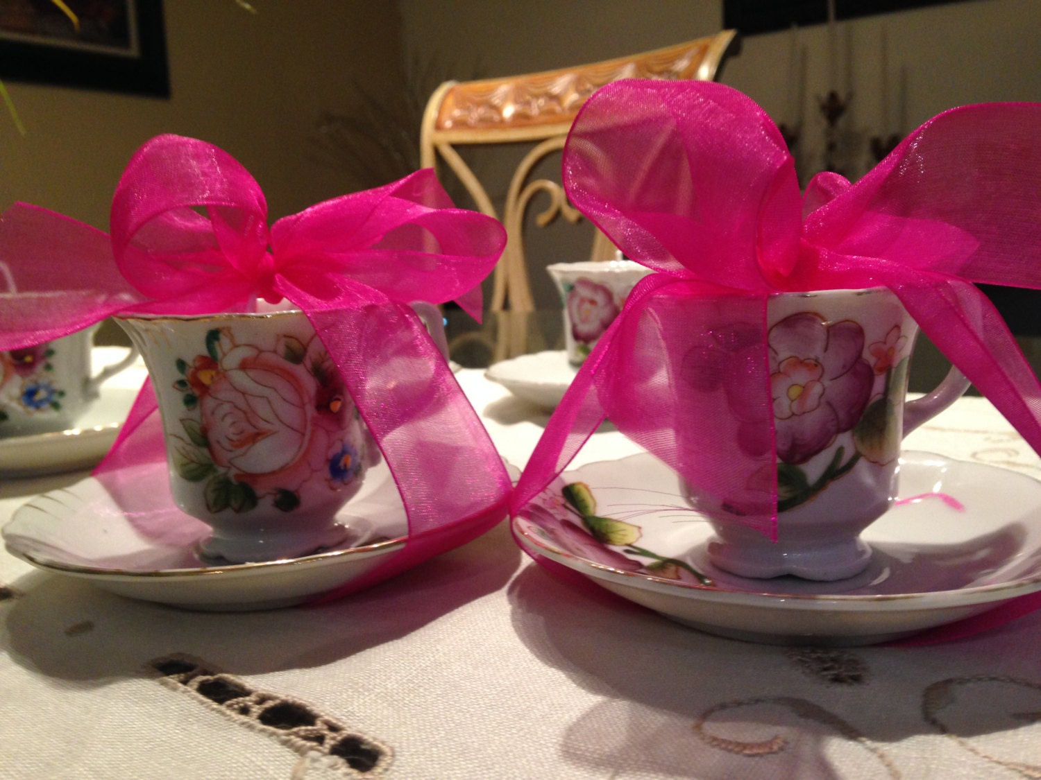 5 Wedding Bridal Favors Tea Cup Soy Candles With Gardenia