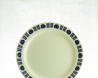 Egersund, Norway, retro plate, with blue pattern.