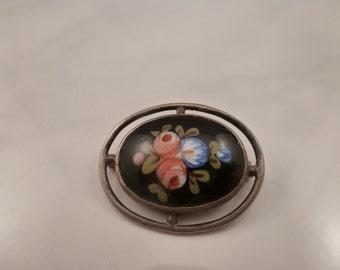 Antique Vintage Sterling Enamel Brooch Pin.