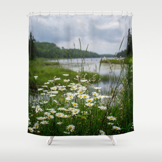 Shower Curtains, River Landscape, Bathroom Decor, Bath Accessories, Boundary Waters, Wildflower Image, Minnesota Art, Summer Pictures