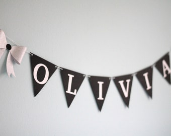 Personalized Bow Baby Name Banner - silver and black