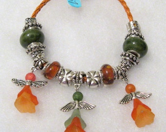 567 - Orange and Green Angel Bracelet