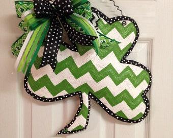 Hand Painted St. Patrick's Day Chevron Print Shamrock Stuffed Burlap Door Hanger