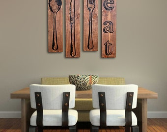 Extra Large Fork Knife and Spoon Wall Art EAT Sign Set on Distressed Solid  Wood - 32