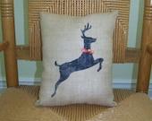 Reindeer Christmas pillow, Christmas decor, Burlap pillow, Silhouette deer pillow, FREE SHIPPING!
