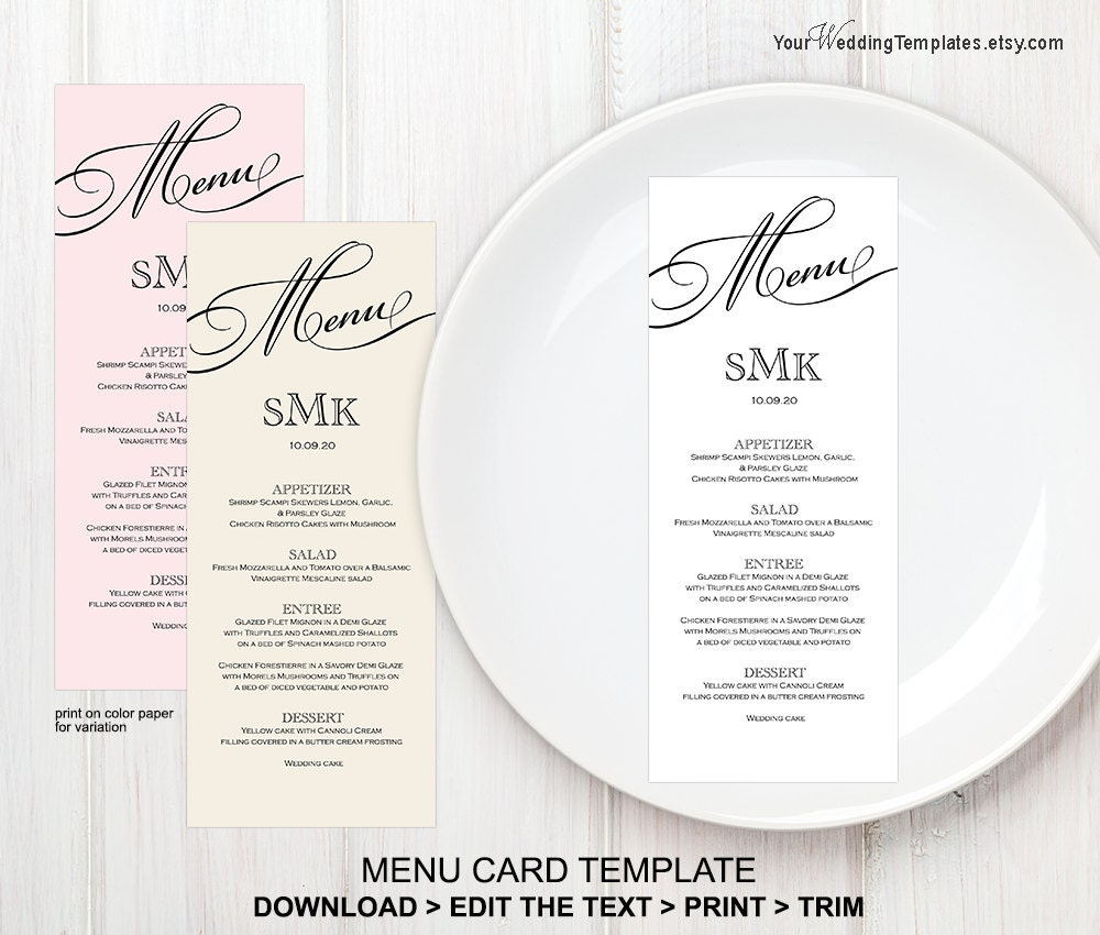 printable wedding menu templatemenu card template instant. Black Bedroom Furniture Sets. Home Design Ideas