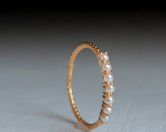 Gold pearl eternity ring - pearl ring