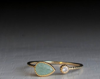Open ring - Turquoise Green - adjustable Stacking ring
