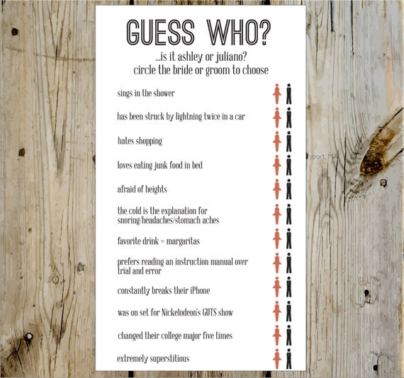 Guess Who Bridal Shower Game Print Yourself Or Add A Print