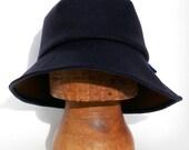 Asymmetric Italian navy wool felt Widebrim hat