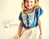 Denim Lace Girl Toddler Dress - Cowgirl - Lace Dress - Easter Toddler - Easter Girl - Sun Dress Girt - Spring Dress - White - Cream - Photo