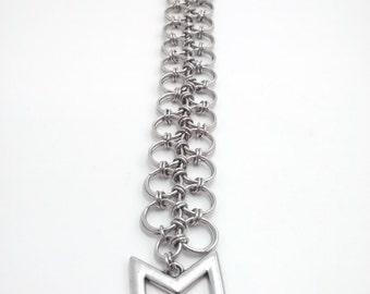 chainmail laced arrow bracelet, hunger game bracelet, nerdy, geeky, elegant, archer