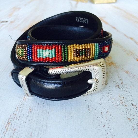 brighton navajo beaded leather belt s m
