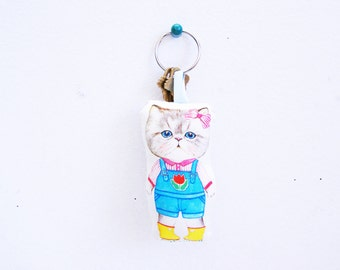 Key chain made of fabric kitty doll