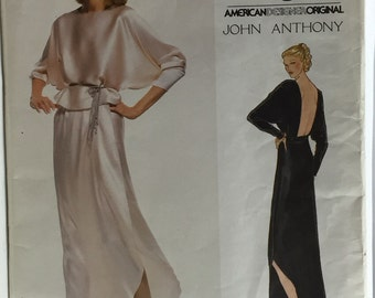 Vintage Very Easy Vogue 2075 John Anthony Misses' Evening Backless Top & Skirt Pattern size 10 Uncut