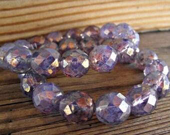 12mm Amethyst Purple Glass Beads Opalite Czech Glass CZ285,purple glass beads,amethyst glass beads,12mm purple beads,opalite glass beads