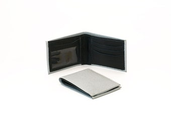 Men's Two-Tone Bifold Real Leather Wallet - Gray & Black
