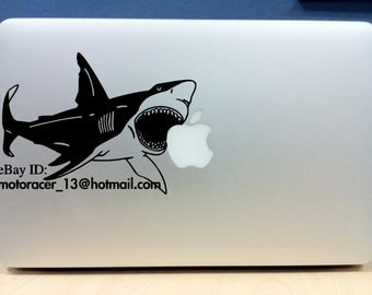 "17in Apple macbook Shark sticker - made of high-quality die cut BLACK vinyl - for Mac 17"" laptops"