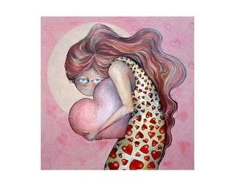Gothic Valentine's art card, pink artwork, lowbrow girl, painting by Lotte Teussink, fantasy art, Valentine art, pop surrealism, goth art