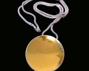 Concave Keum Boo & Sterling Silver Disc Necklace