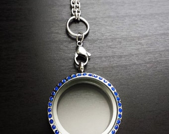 Large Floating Charm Locket-Memory Locket-30mm-Stainless Steel-Sapphire Blue Crystal Face-Gift Idea for Women