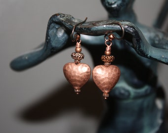 Hammered Copper Heart Earrings