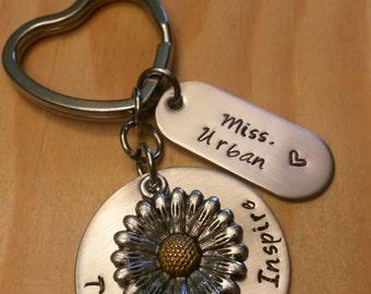 Hand Stamped Teacher Keychain - Teacher Gifts - Teach Love Inspire Kechain - Personalized Teacher Gift