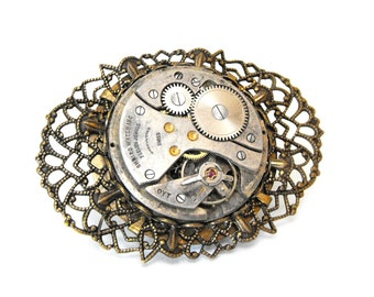 Clockwork filigree brooch - steampunk - clockpunk - neo-Victorian