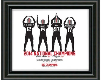 O.H.I.O. 2014 National, Big Ten and Sugar Bowl Champions wall decor art - (8x10 PRINT)