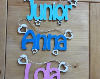 Wooden letters, door hanging, personalised wooden names, Laser cut names, wall art and craft, many colours available