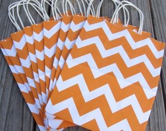 20 Pack Orange Chevron Gift Bag with Handle 8 x 4 x 10