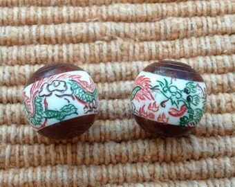 Amazing Hand Carved and Painted Bone and Wood Dragon Bead - 18 mm - 3/4 Inch