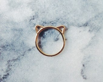 Gold Cat Ears Ring - Cat Jewelry, Gold Ring, Simple Ring, Minimalist Ring, Everyday Ring