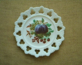 Milk Glass plate hand painted fruit and laced edge
